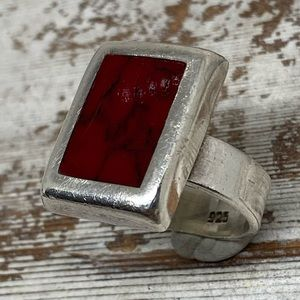 Jewelry - Vintage Sterling Silver Jasper Wide Band Ring
